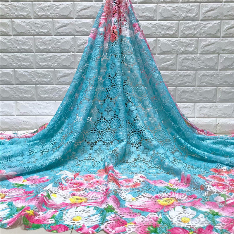 2019 Sky blue  High quality Embroidery guipure water Swiss African milk silk cord soluble print lace Fabric for dress 5y/lot-in Lace from Home & Garden    1