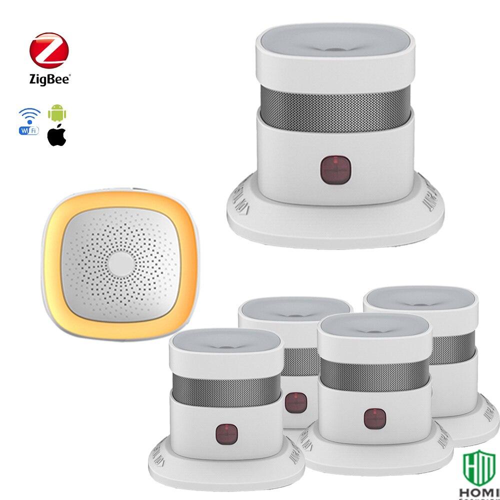 Kitchen Safety Alarm System Fire Prevention Smoke Detector 85dB/3m High Decibel Sounder Alarm Smoke Sensor+hub Home Security