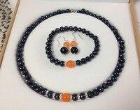 Envío de la nueva manera caliente Negro Cultivadas de Akoya Perla Naranja pulseras calcedonia ronda cuentas de collar pendientes fijaron BV439