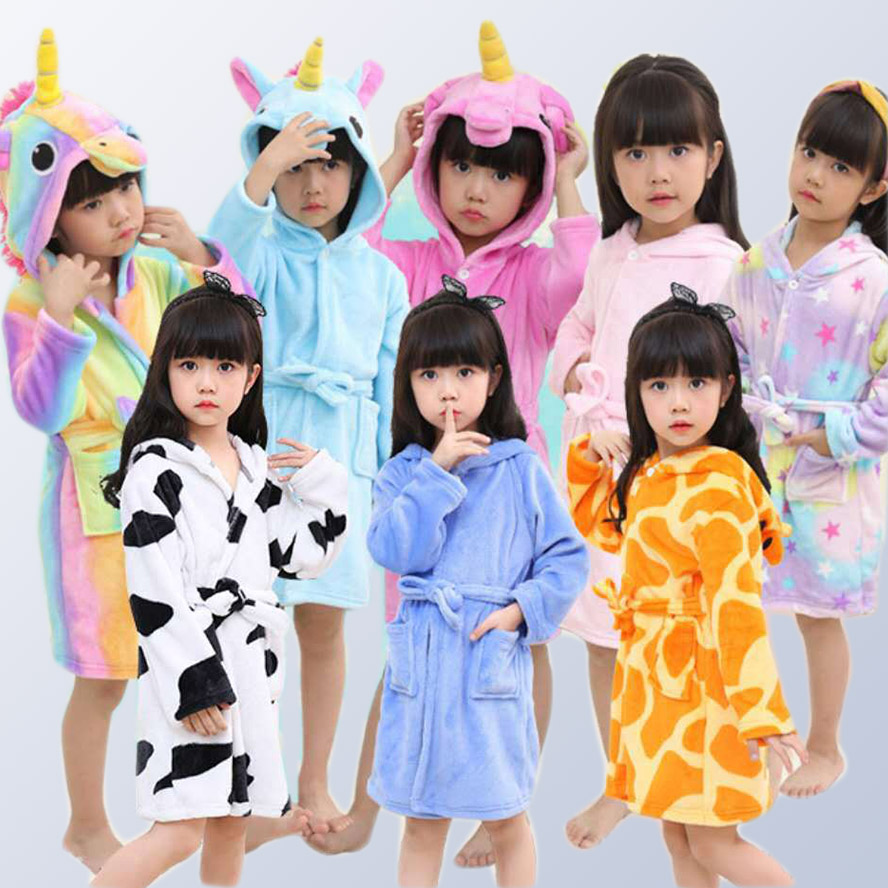 Girl Goy child pajamas Bathrobe pajamas children's clothing set cartoon animals pajamas dress hoodie cosplay 3-12 years