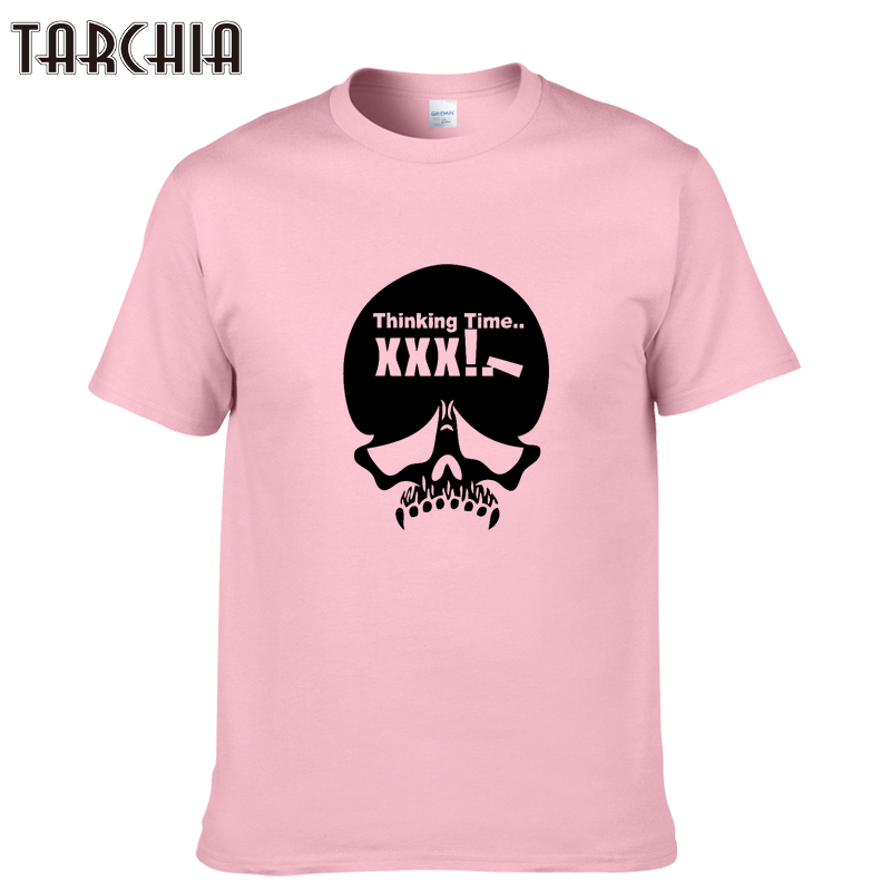 "TARCHIA Summer Style Men Short Sleeve O-Neck Cotton T-Shirt 2018 New Male ""Thinking Time'' Print Casual Tees Tops Men Clothing"