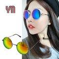 Lente do espelho do vintage rodada óculos de sol de ouro quadro cinza gradiente óculos new hippie shades lennon ozzy 80 s multi-cor 030-263b