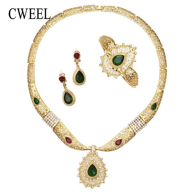 CWEEL תכשיטי סט לנשים האתיופית כלה דובאי הודי חתונה תלבושות זהב זירקון ניגרי יוקרה שרשרת תכשיטים
