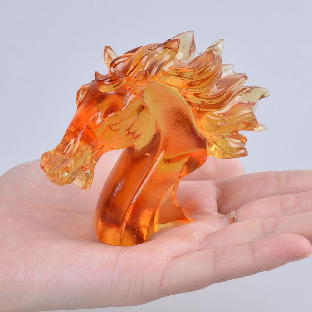 Âmbar Cabeça de Cavalo Feng Shui chinês Liuli Arte & Collectible Presente Artesanato Azure Pedra Peso De Papel Decoração Da Sua Casa