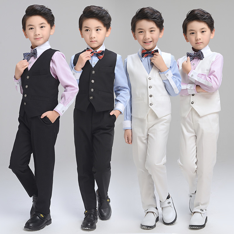 Фото Boy Clothes for Wedding Prom Party Costume New Boys Formal Suits Tuxedos 3pcs Vest+Shirt+Pants British Style Kids Clothing