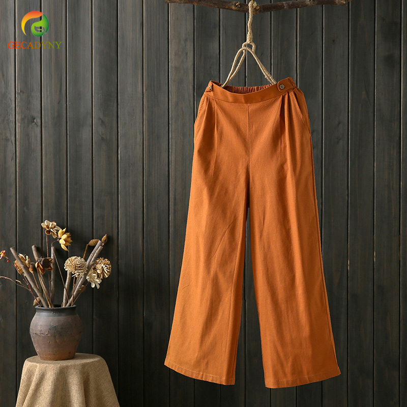 Women   Wide     Leg     Pants   Cotton Linen Trousers Solid Color   Pants   Elastic Waist New Vintage Plus Size   Pants   Female