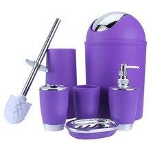 6 ב 1 מברשת רחצה מחזיק יד Sanitizer בקבוק מרק אסלה מחזיק פסולת בינס אביזרי אמבטיה סט 6 צבעים