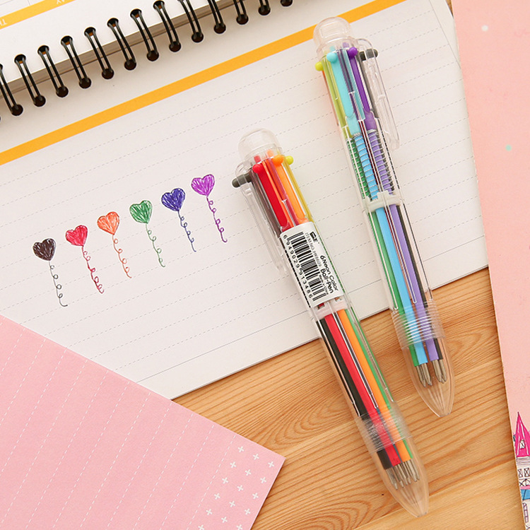 2016 New! 6 Colors Ballpoint Pens Office And School Pen For Children Students And Office Ball Pen Stationery Office Supplies
