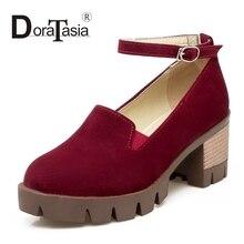 DoraTasia Big Size 34-43 Mary Janes Buckle High Heel Shoes Woman Fashion Flock Thick Platform Pumps Women Ladies Casual Shoes