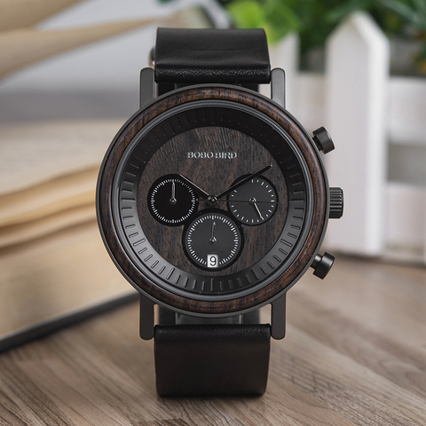 BOBO BIRD Chronograph Men Watches Stainless Steel Relogio Masculino Wooden Watch Women relojes para hombre in Wood Gift Box Islamabad