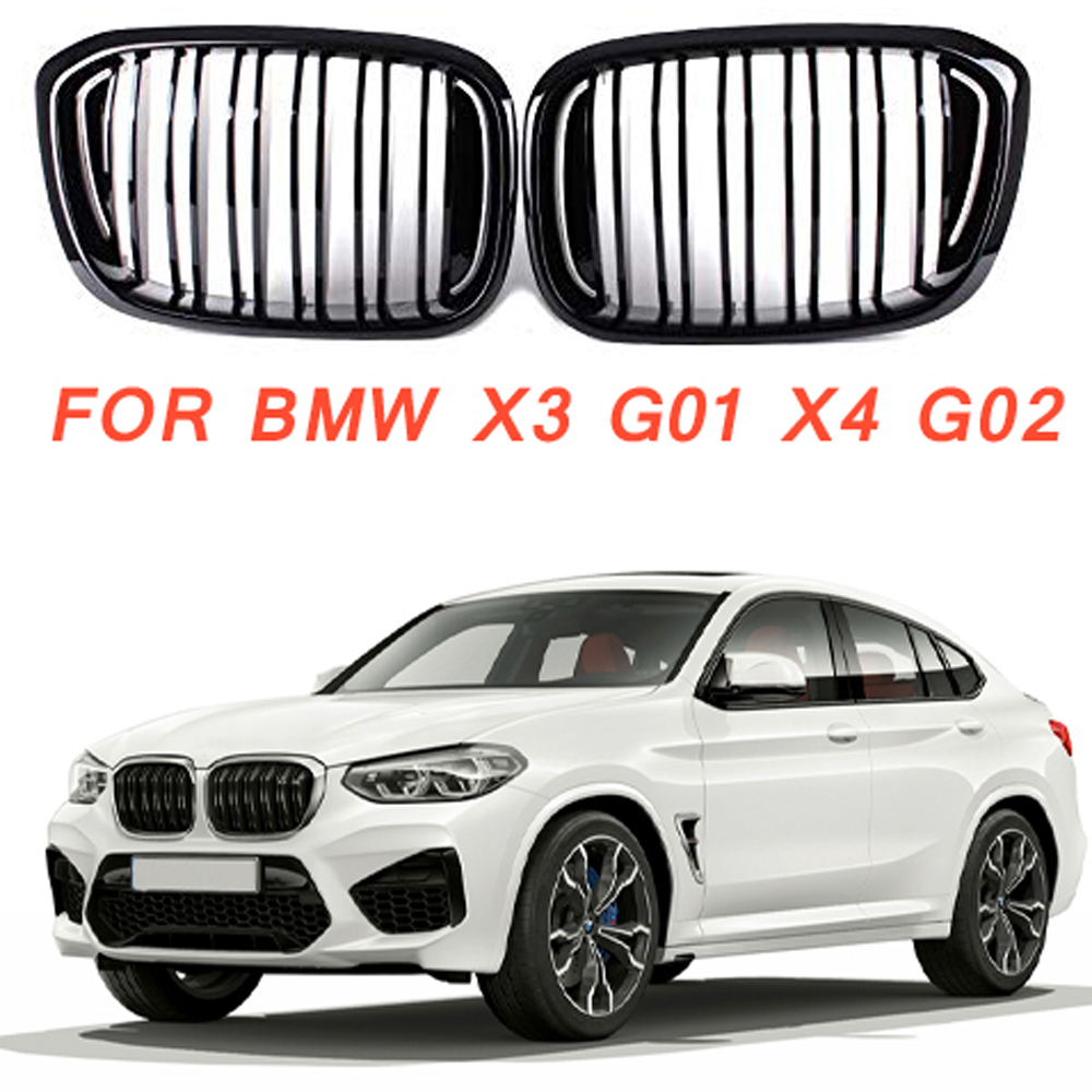 グロスブラックフロント腎臓グリルスラットスタイルグリル For Bmw X3 G01 X4 G02 BMW X4 25I 30I 2018 +