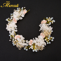 Moda Flores Secas Coroa de Strass Princesa Headband Da Flor Artesanal Noiva Hairwear Cabelo Jóias de Casamento Pérola Simulada TD173