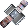 Maquiador profissional Moda Aluminum Case Cosméticos Paleta de Sombra Make up Kit Lipgloss Concealer Blush Eyeliner Novo