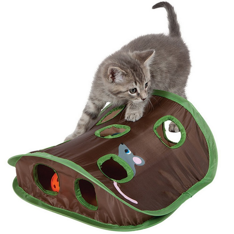 Cat Hide & Seek Game 9 Holes Tunnel Mouse Hunt Intelligence Toy Pet Hidden Hole Kitten Interactive Foldable Toys