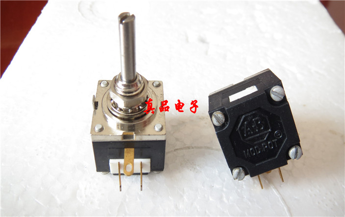 Original new 100% 10K United States import antique M-10K-OHM gold plated feet single joint potentiometer handle long 19MMX3 142 horizontal double potentiometer a10k 7 feet long handle anti 18mm []