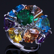 Fascinating Round Multigem Multicolor Brown Cubic Zirconia 925 Sterling Silver Ring For Women V0503