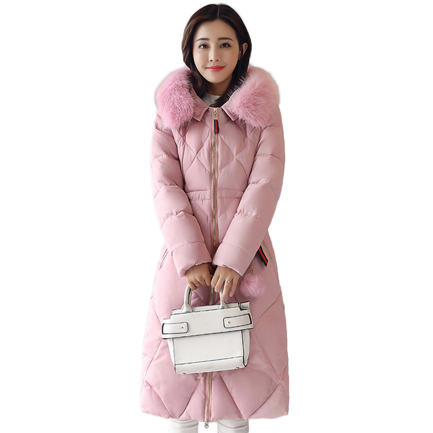 2017 Free Shipping Winter New Fur Collar The Long Coat Cotton Padded Down Parkas Thickened Slim Women Winter Warm Coats D80 2017 winter new clothes to overcome the coat of women in the long reed rabbit hair fur fur coat fox raccoon fur collar