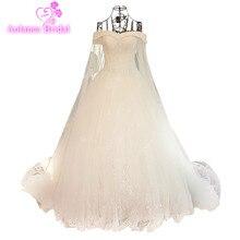 Ny Arrival Elegant A-Line Spets Sequins Bröllopsklänning 2017 Ansökningar Kristaller Pärlstav Långärmad Västido De Noiva Brudklänningar