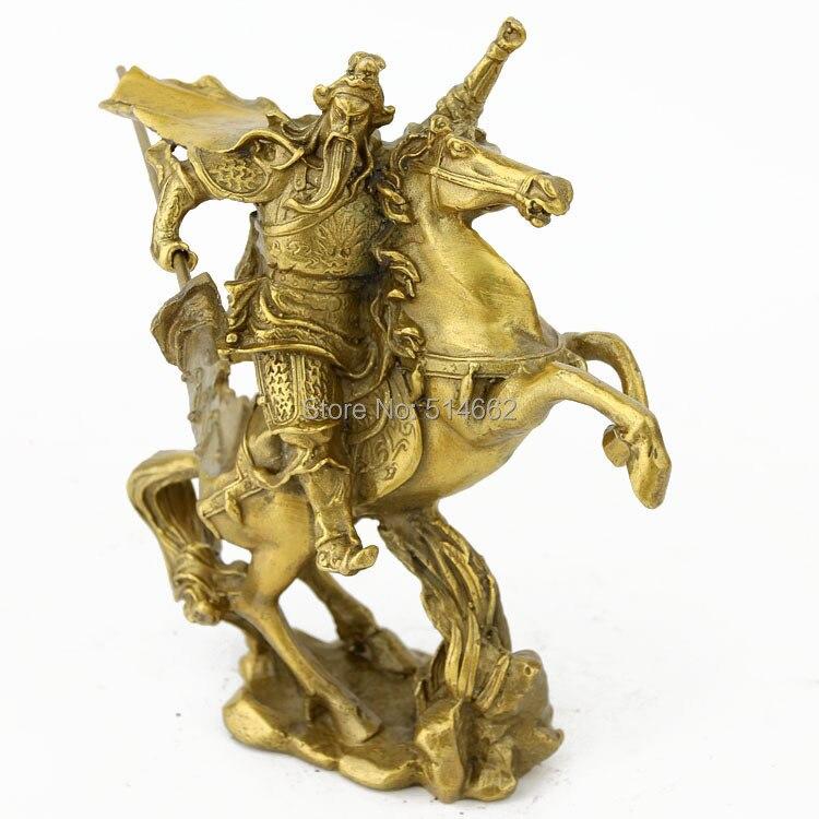 FengShui en laiton monter un cheval GUAN GONG Figurines
