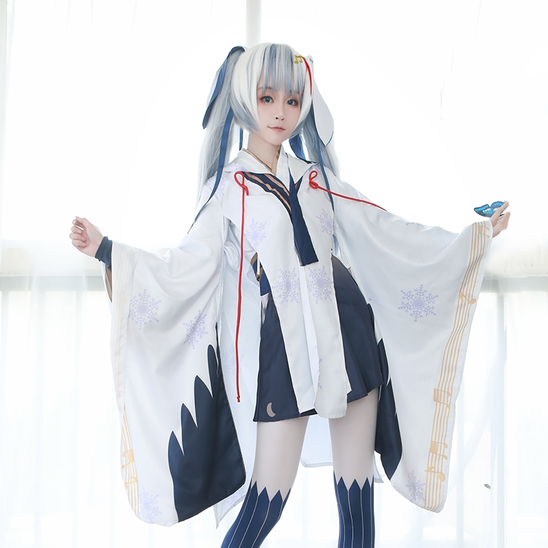 New Vocaloid Hatsune Miku Snow Cosplay Costume Witch Kimono Dress Carnival/Halloween Adult Costumes for Women S-XL