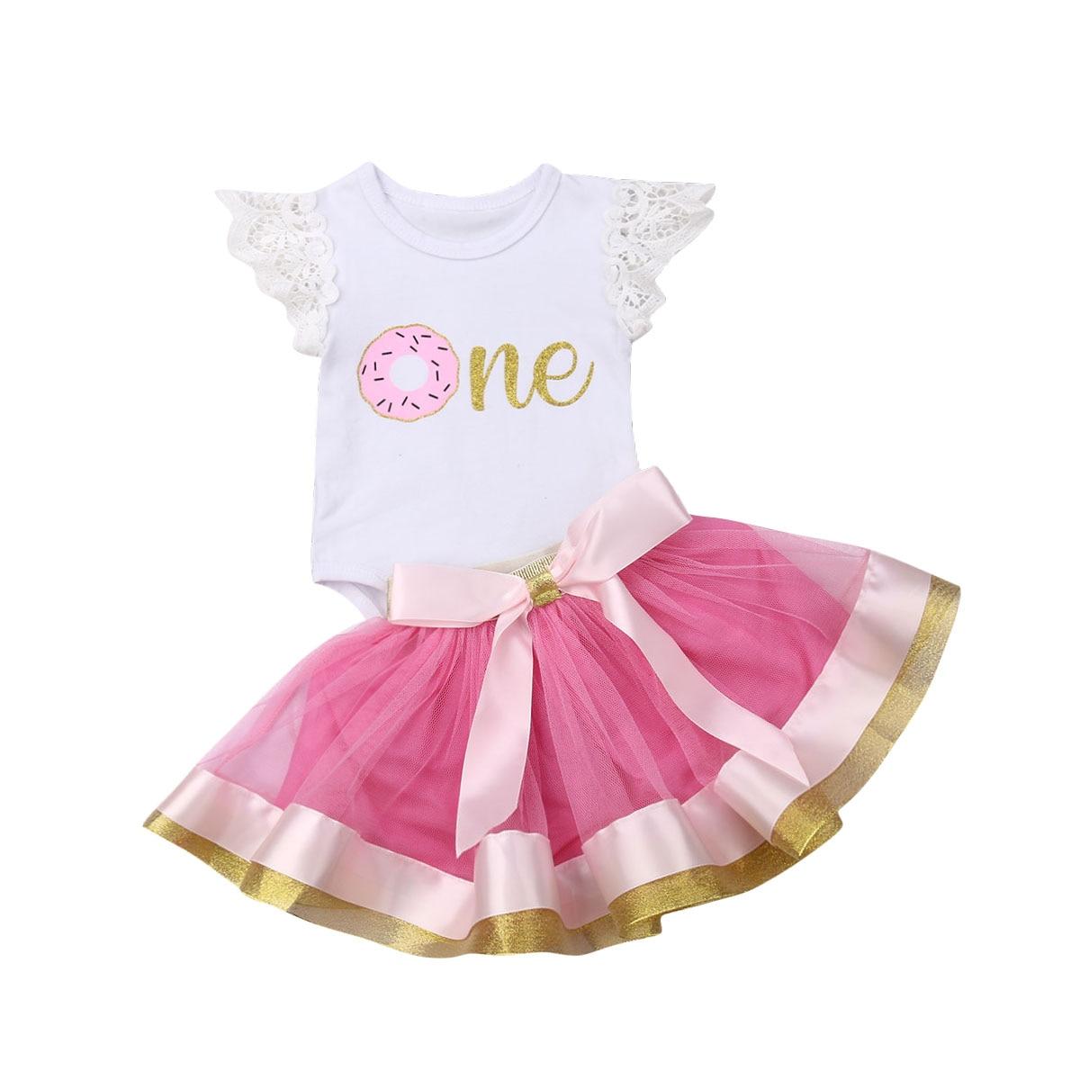 2pcs Toddler Baby Girl Headband+Romper Bodysuit Tutu Dress Set Outfit Party Tops