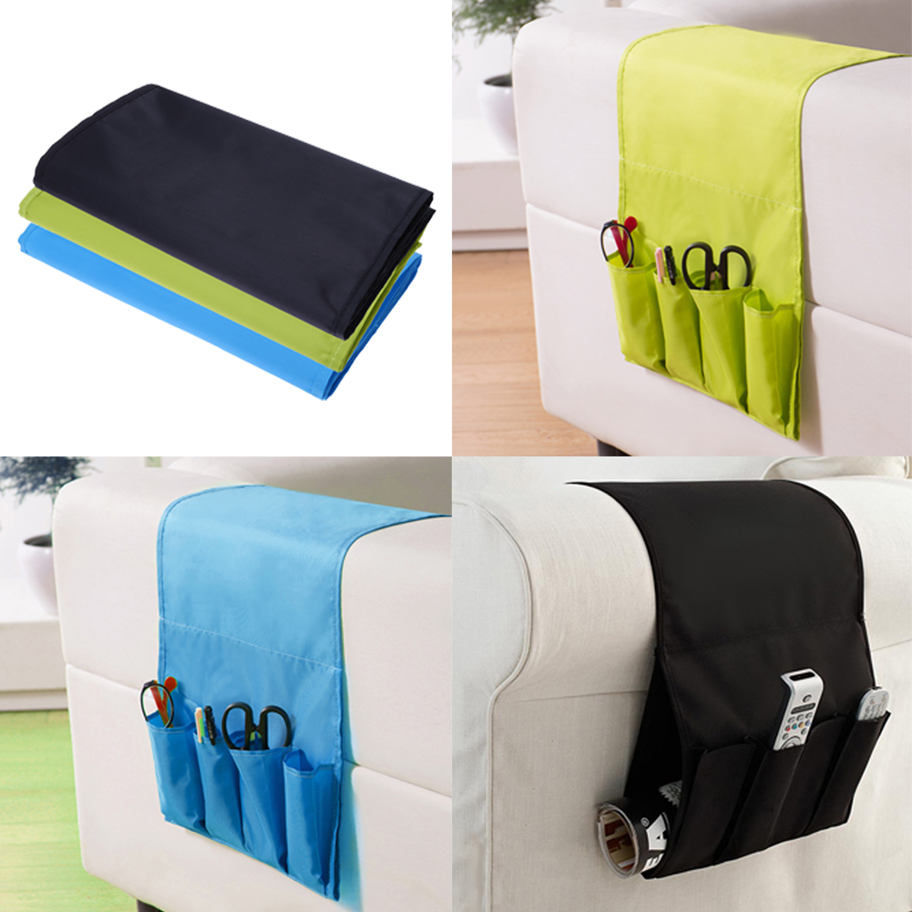 Hanging Sofa Side Storage Bag Cell Phones Remote Control Holder Organizer Foldable 4 Pockets Over Armchair Couch Storage Pouch