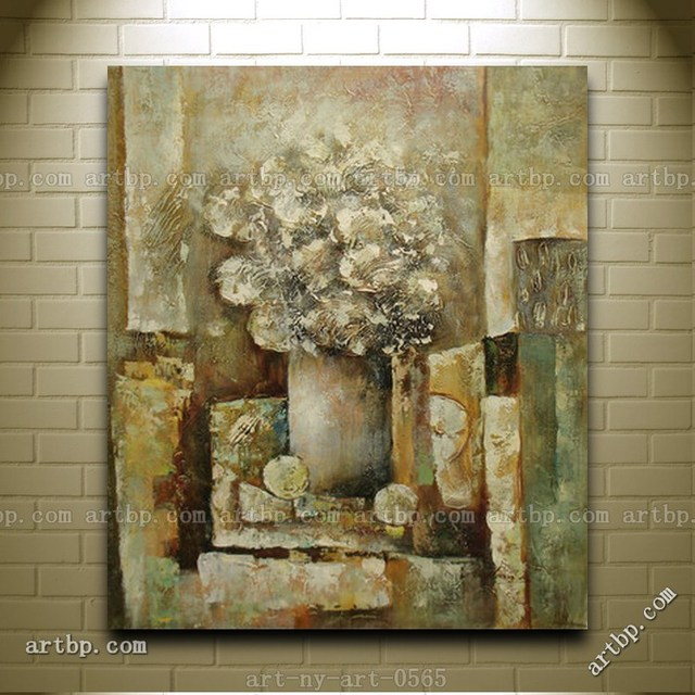 Contemporary Oil Painting Of Flowers In Vase Portrait Still Life ...