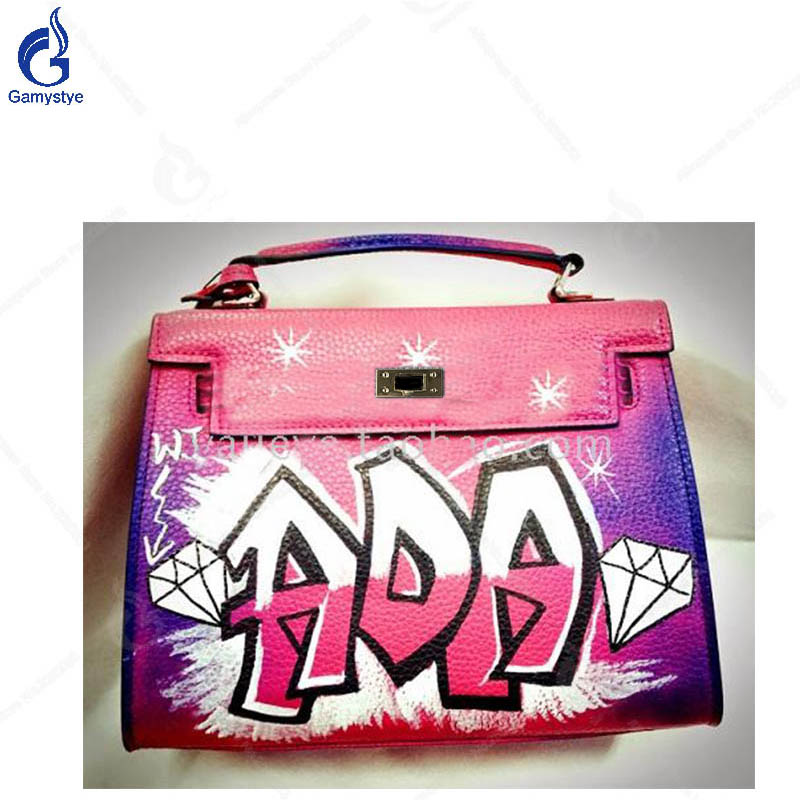 New Arrival Hand Painted Handbag High Quality Genuine Leather Ladies Messenger Bag Painted Personality Letter Big Capacity Bag Y