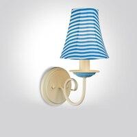 Retro mediterrâneo azul lâmpada de parede. Idílico quarto minimalista sala de estar lâmpadas de cabeceira corredor arandela corredor