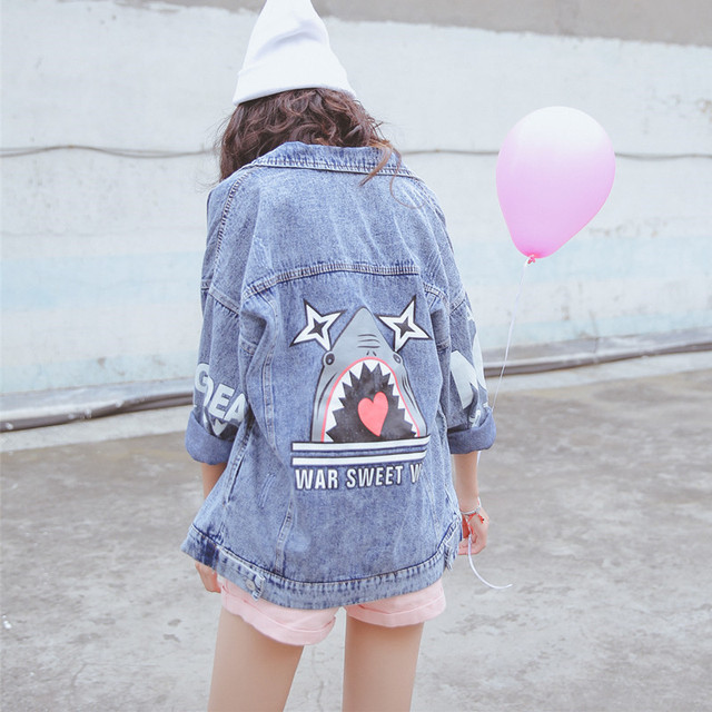 b5975168c New 2016 Autumn Women Denim Jackets Fashion Punk Style Cartoon Letters  Printed Long Sleeve Jeans Jacket Female Short Coat Tops-in Basic Jackets  from ...