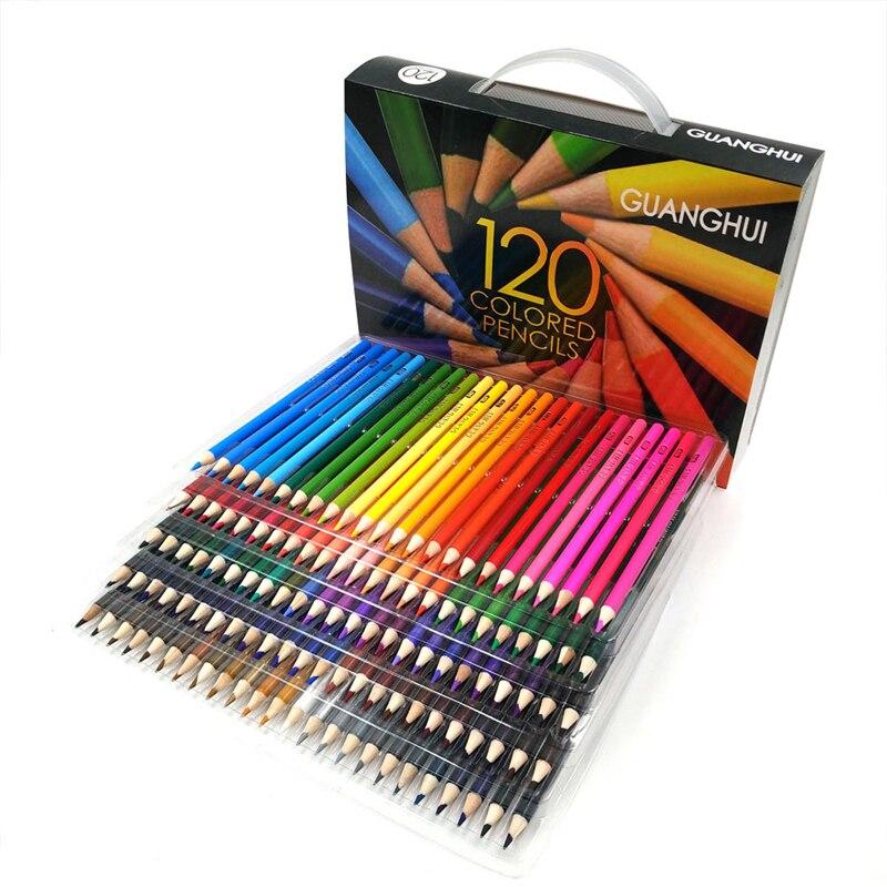 120 pcs/lot 120 Couleurs Bois Crayon De Couleur Peinture Dessin Papeterie Couleurs À L'huile Artiste Croquis Art Crayons Cadeaux Fournitures Scolaires