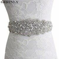 GERINLY Casamento Mulheres Cinto Cintos de Marca de Luxo Strass Fita de Cetim Sash vestido de Noiva Da Dama de honra Vestido de Noiva Cós Cummerbunds