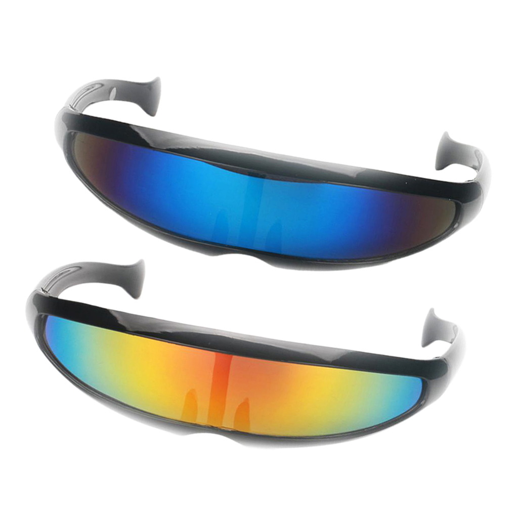 ROBOT COSTUME PARTY RAVE CYCLOPS FUTURISTIC SHIELD White SUN GLASSES Mirror Lens