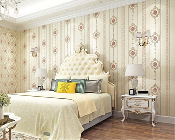 beibehang European pastoral bedroom living room wallpaper three dimensional pressing nail shop nonwoven wall paper papier peint