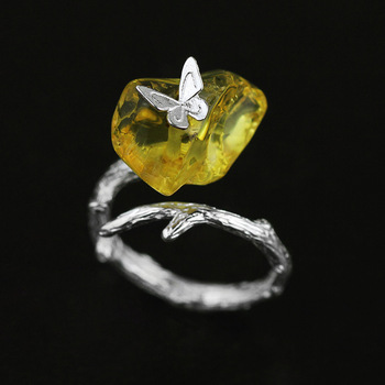 Natural Amber 925 Sterling Silver Butterfly Ring114