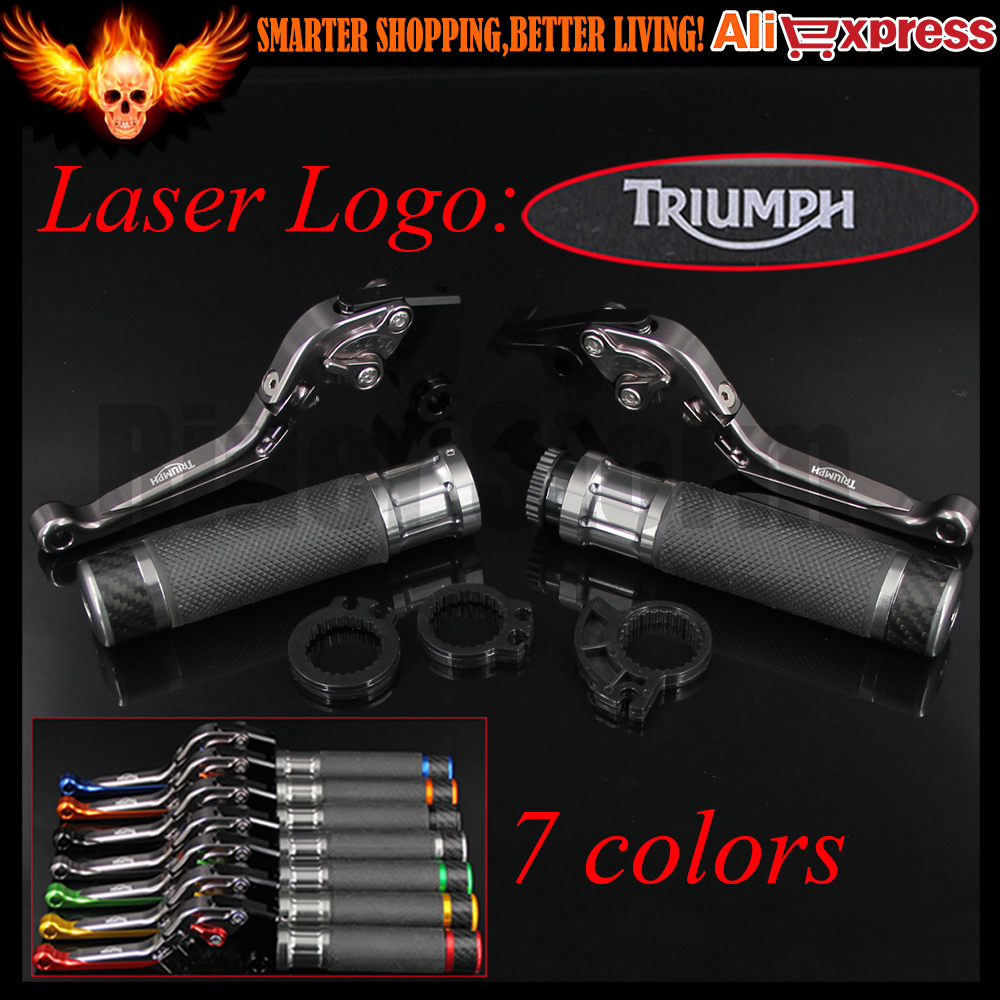 ФОТО 7 Colors Full Titanium Folding Extendable Motorcycle Brake Clutch Levers&Handlebar Hand Grips For Triumph BONNEVILLE T120 2016