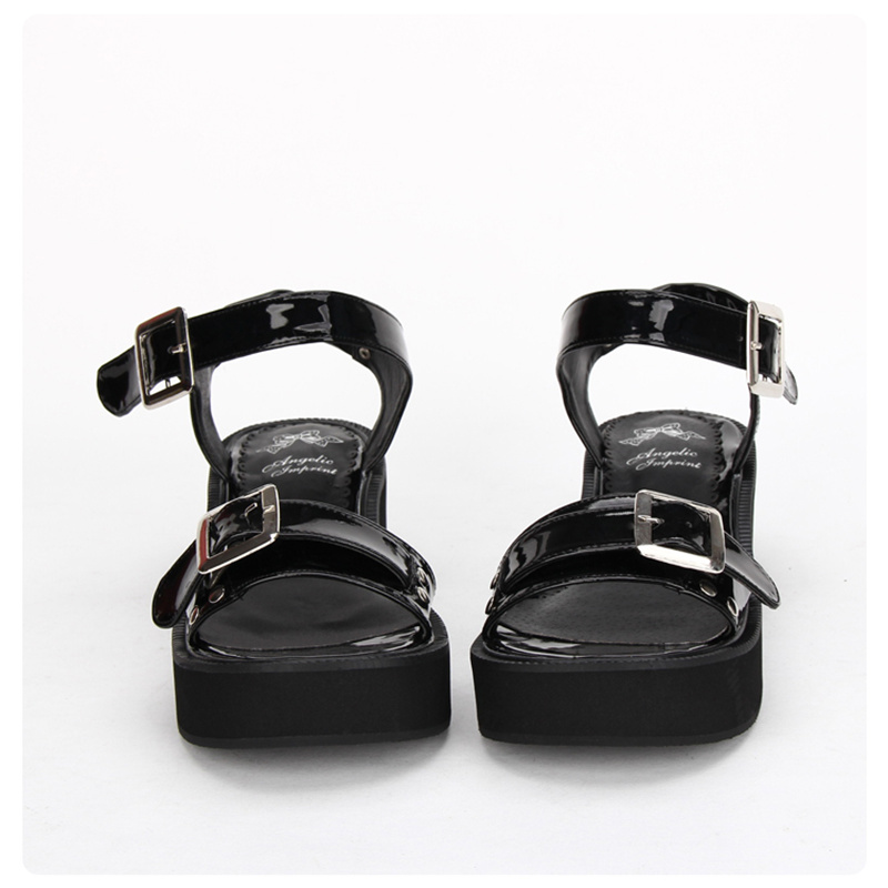 Cuña Cm Verano 7 Negro De Hebilla Cuero Sandalias Punk Lolita Plataforma Zapatos custom Negro Correa La g5wdwa
