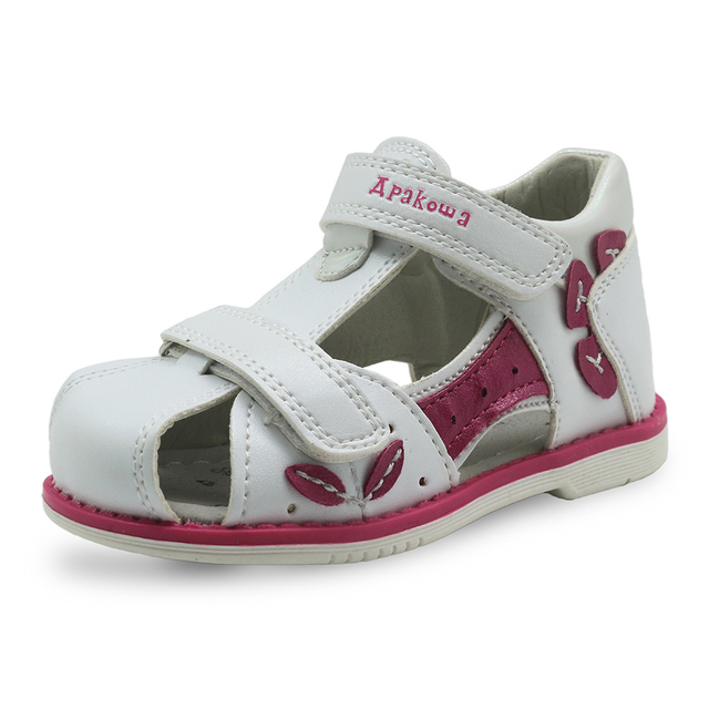 Apakowa חדש לגמרי 2018 בנות סנדלי עור מפוצל פעוטות ילדים עבור בנות אורטופדי סגור הבוהן תינוק שטוח נעלי Eur 20- 25
