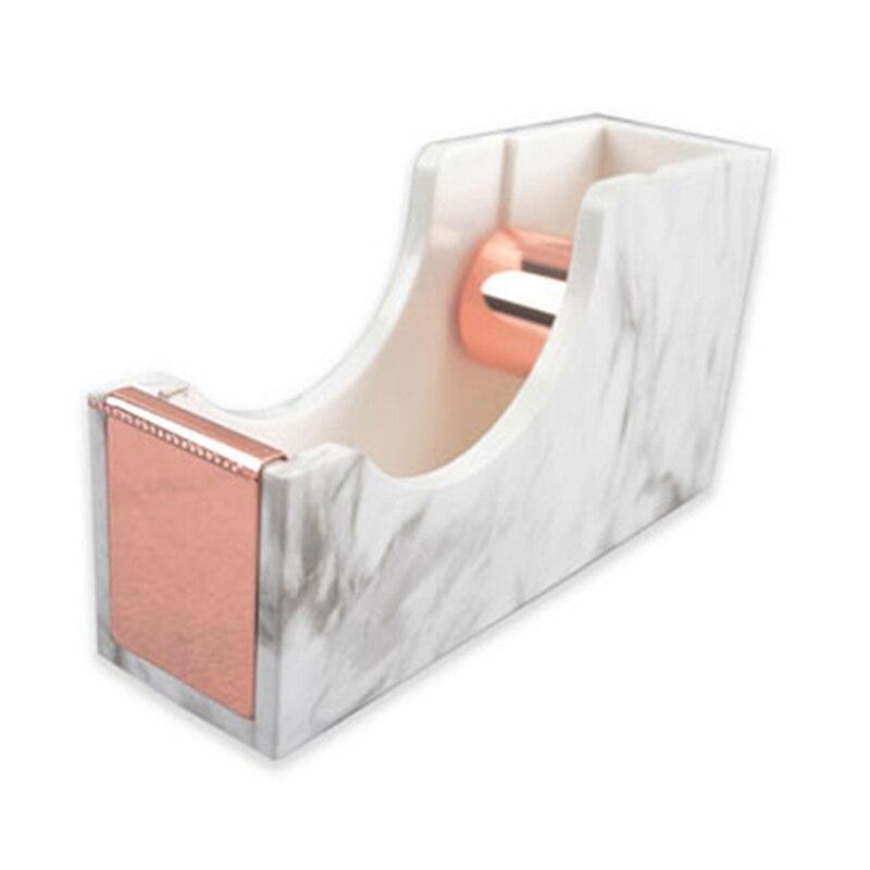Marble Texture Desktop Adhesive Tape Dispenser Holder Rose Gold Tone Metal Core Tape Holder For Office School Supplies