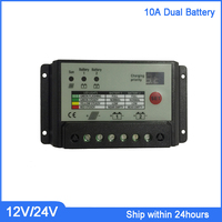 High Quality 12V/24V Dual Battery Solar Charge Controller, 10A PMW Double Nixie Tube Display Charging Type Controller