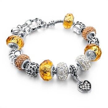 Women's Tibetan Silver Charm Bracelet Bracelets Jewelry Women Jewelry Metal Color: 056 yellow