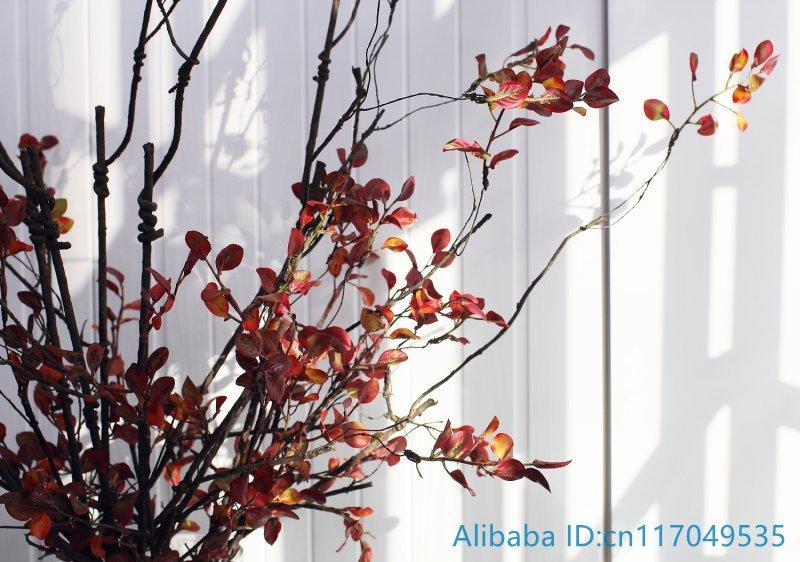 1 StÜcke Schöne Künstliche Rote Blätter Kunststoff Getrocknete Zweig Heim Hochzeitsdekoration F382 Moderater Preis Künstliche Und Getrocknete Blumen