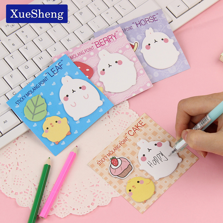 4 PCS New Arrival Cute Molang Rabbit N Times Self Adhesive Memo Pad Sticky Notes Notebook School Office Supply
