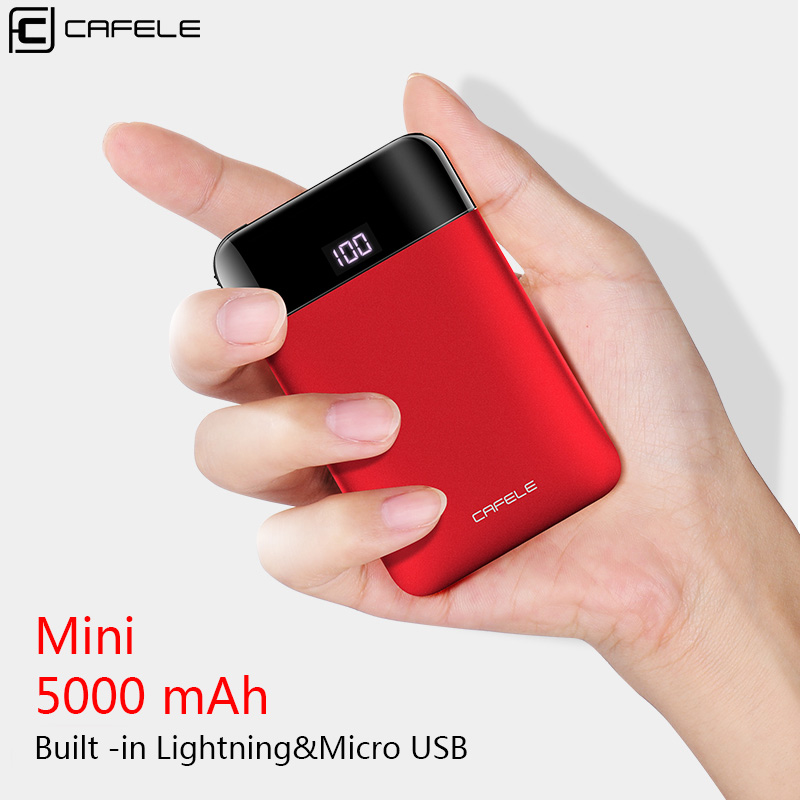 Cafele 5000mAh Multifunctional Power Bank Mini Portable External Battery Built-in 3 Connectors for iPhone USB 2.0 Micro USB