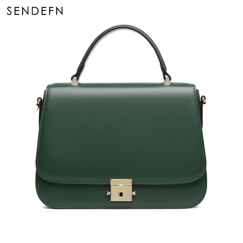 SENDEFN Brand Crossbody Bag Casual Shoulder Bags Women Small Fashion Split Leather New Messenger Bags Ladies With Specialy Lock sendefn brand crossbody bag casual shoulder bags women small fashion split leather messenger bags ladies 2018 new rivet bag