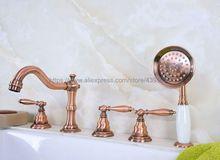 цена на Bathtub Faucet 5 Hole Widespread Roamn Tub Faucet Bath Basin Mixer Taps with Handshower Deck mounted Btf229