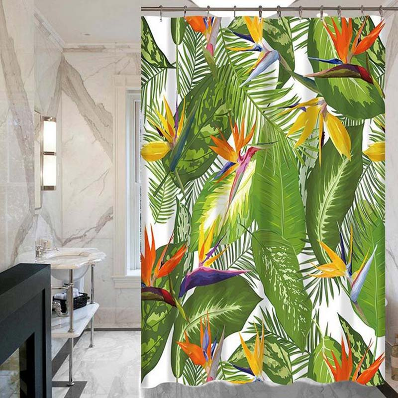 Tropical Plants Green Leaves Creative Digital Printing Curtains Shower Bathroom Products With 12 Hooks Wholesale in Shower Curtains from Home Garden