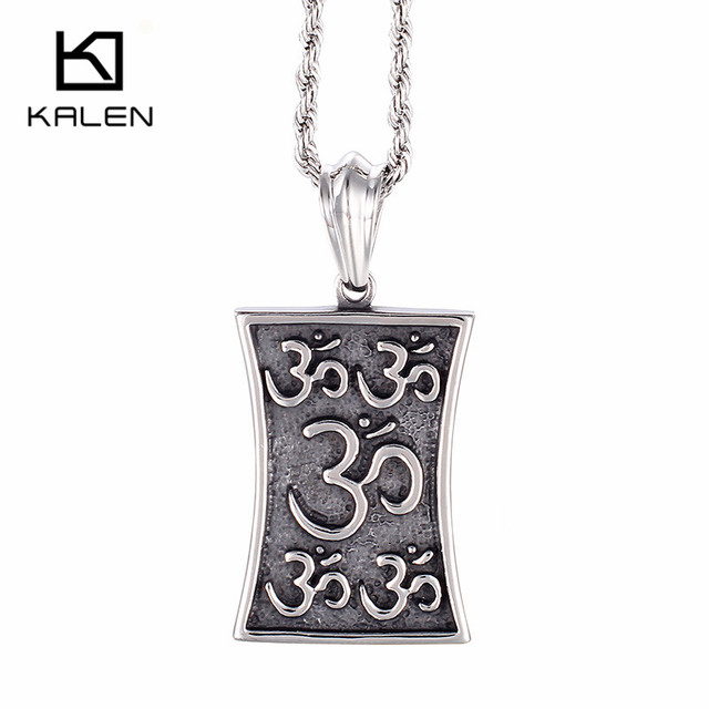 Kalen Religious Buddhism Letter Om Pendant Necklaces For Men