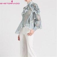 Women striped print asymmetry ruffled blouse top summer lantern sleeve casual work off the shoulder sexy club shirt Blusa E6120