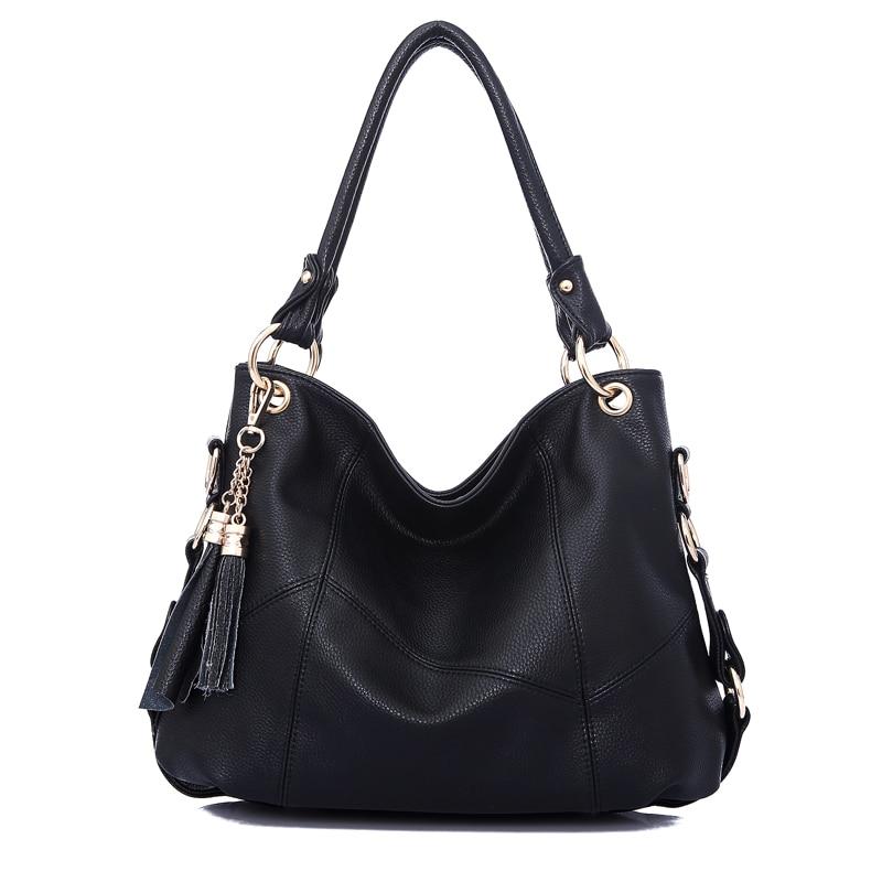 Lyudmyla Large Shoulder Bag Fringe Hobo Handbags Soft Leather Handbag For Ladies Luxury Brand Bags 2018 Big Black Bags Casual